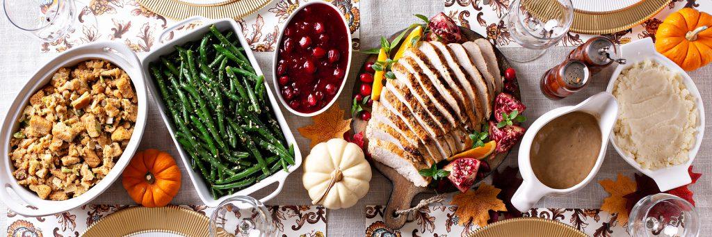 Thanksgiving Dinner Table, Overhead Shot, Long Banner